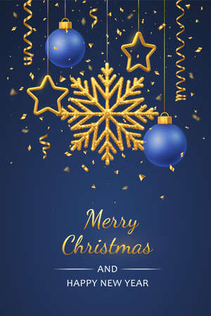 Christmas blue background with hanging shining golden snowflakes, 3D metallic stars and balls. Merry christmas greeting card. Holiday Xmas and New Year poster, web banner. Vector Illustration