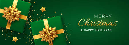 Christmas banner. Realistic green gift boxes with golden bow, gold stars and glitter confetti. Xmas background, horizontal christmas poster, greeting cards, headers website. Vector illustration
