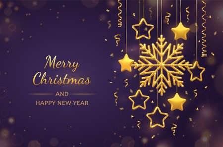 Christmas purple background with hanging shining golden snowflakes, 3D metallic stars and balls. Merry christmas greeting card. Holiday Xmas and New Year poster, web banner. Vector Illustration