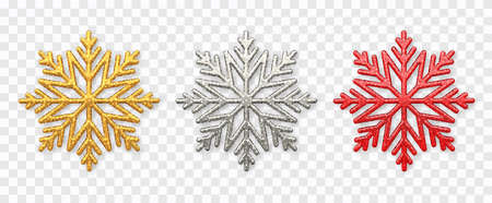 Snowflakes set. Sparkling golden, silver and red snowflakes with glitter texture isolated on transparent background. Christmas decoration. Vector illustration