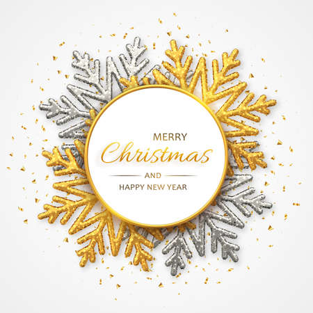 Christmas background with shining golden and silver snowflakes. Merry christmas greeting card. Holiday Xmas and New Year poster, web banner. Vector Illustration