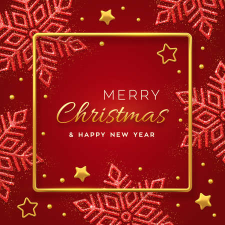 Christmas red background with shining snowflakes, gold stars and beads. Merry christmas greeting card. Holiday Xmas and New Year poster, web banner. Vector Illustration