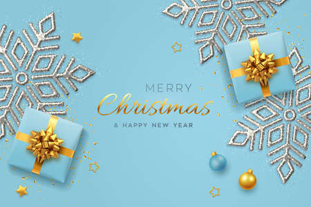 Christmas banner. Realistic blue gift boxes with golden bow, shining snowflake, gold stars and glitter confetti, balls. Xmas background, horizontal poster, greeting cards, headers website. Vector Иллюстрация