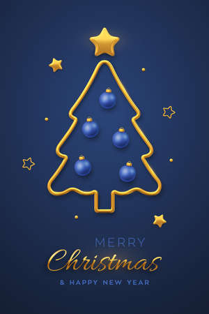 Christmas greeting card minimal design with golden metallic Christmas tree, blue balls bauble and golden stars. New Year poster, cover or banner template. Holiday decoration. Vector illustration Иллюстрация