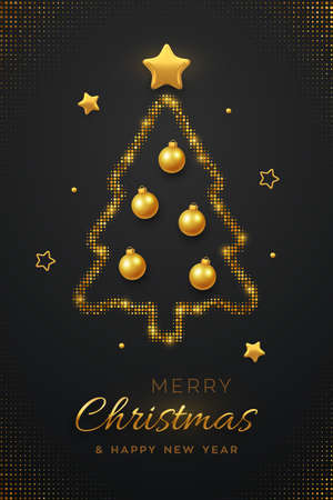 Christmas greeting card minimal design with abstract golden Christmas tree, balls bauble and golden stars. Bursting backdrop with glitters. New Year poster, banner template. Vector illustration
