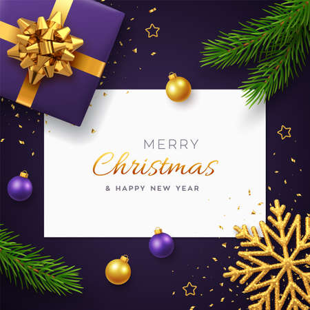 Christmas background with square paper banner, realistic purple gift box with golden bow, pine branches, gold stars and glitter snowflake, balls bauble. Xmas background, greeting cards. Vector