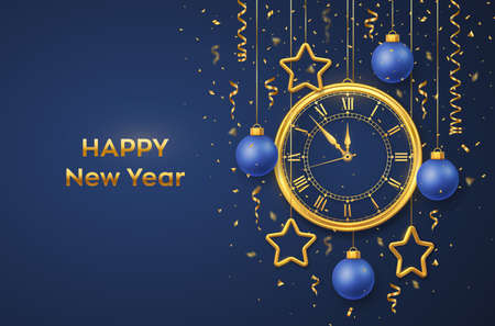 Happy New Year 2021. Golden shiny watch with Roman numeral and countdown midnight, eve for New Year. Background with shining golden stars and balls. Merry Christmas. Xmas holiday. Vector illustration