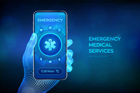 Emergency medical services concept on virtual screen. Emergency call. Online medical support. Medicine and healthcare application. Closeup smartphone in wireframe hand. Vector illustration Иллюстрация