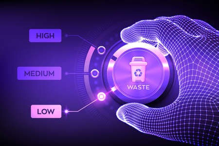 Waste management concept. Wireframe hand setting waste level button on lowest position to optimize manufacture production and reduce costs. Lean management concept. Vector illustration