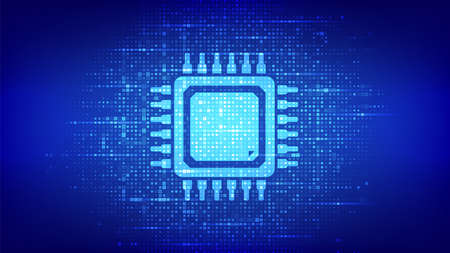 Processor. CPU Microprocessor or Chip icon made with binary code. Computer chip. Ai chipset. Digital binary data and streaming digital code. Matrix background with digits 1.0. Vector Illustration