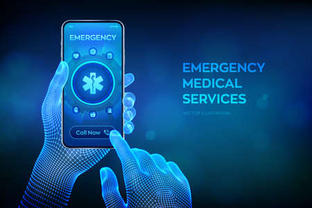 Emergency medical services concept on virtual screen. Emergency call. Online medical support. Medicine and healthcare application. Closeup smartphone in wireframe hands. Vector illustration