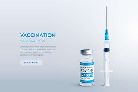 Covid-19 coronavirus vaccine concept. Realistic medical glass vial with metal cap and syringe vector background with copyspace. Vaccination against 2019-nCoV virus. Covid19 immunization treatment