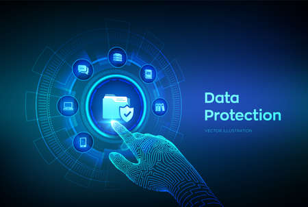 Data protection. Personal data security concept on virtual screen. Protected folder icon. Cyber security. Internet privacy and safety. Robotic hand touching digital interface. Vector illustration