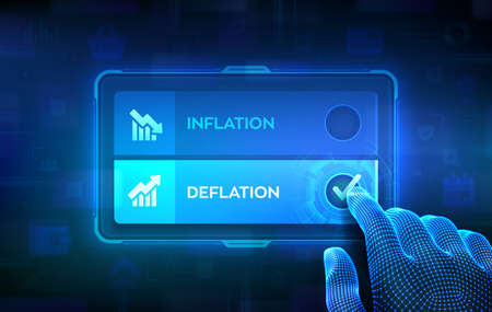 Deflation or Inflation choice concept. Making decision. Stock or forex business and finance money. Hand on virtual touch screen ticking the check mark on Deflation button. Vector illustration