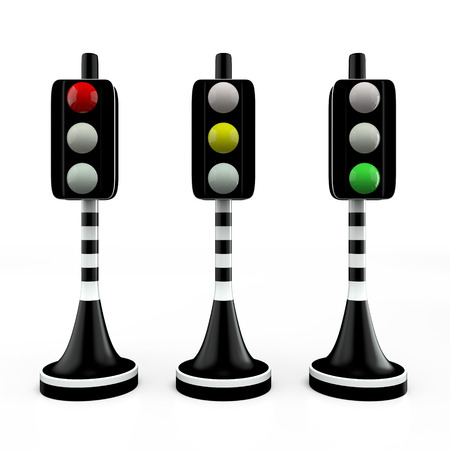 Three trafficlights, 3D photo