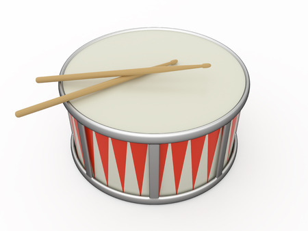Isolated drum and two drumstick, 3D photo
