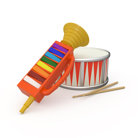 Isolated fife, drum and two drumstick, 3D photo