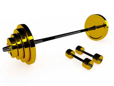 Isolated gold weight and pair of dumbbells, 3d photo