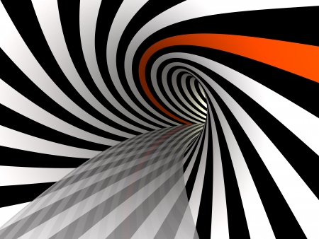 Tunnel of black and white lines with single red line, 3D