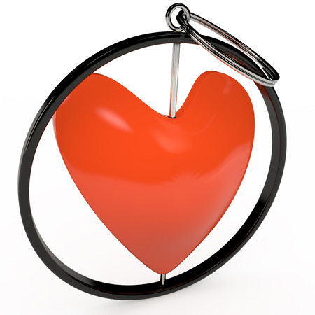 keychain: Isolated keychain in red heart shape, 3D