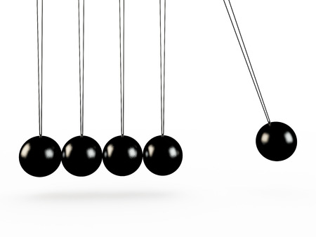 Newtons cradle isolated on white, 3D render photo