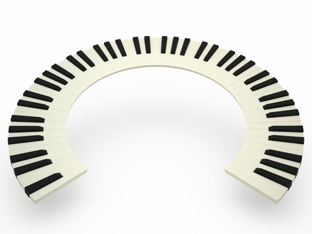 ivories: Curved piano keyboard on white , 3D