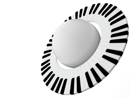 Abstract music planet with ring of piano keyboard, 3D photo