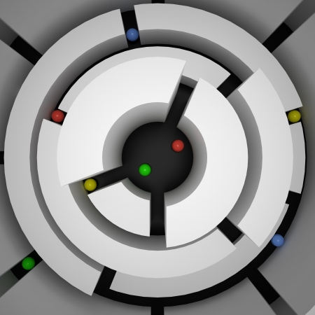 labyrinthine: Top view of abstract maze and colored spheres, 3d
