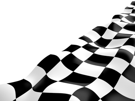 Checkered flag with black and white squares, 3D