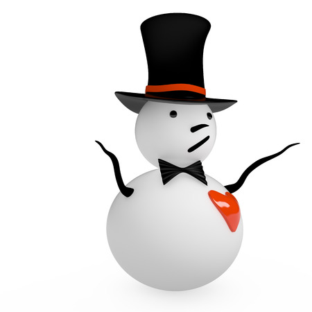 Snowman with red heart, 3D rendering image photo