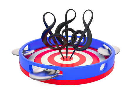 clefs: Three treble clefs on tambourine, 3D illustrarion