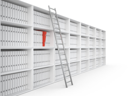 Organizing files in office bookcase, 3D illustration