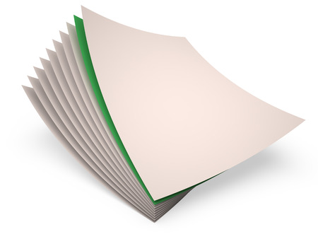 one sheet: Set of white paper sheets and one green sheet, 3D
