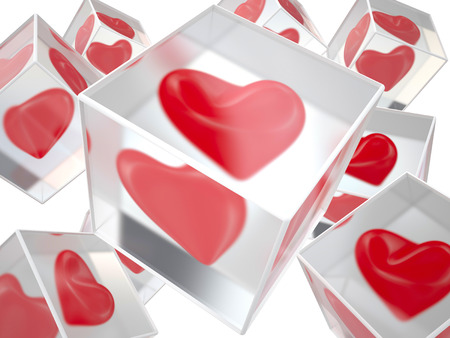 Red hearts frozen in ice, 3D illustration illustration