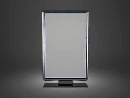 Vertical grey illuminated billboard, 3D rendering image photo