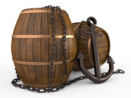 Anchor, barrels and chain on white background, 3D photo
