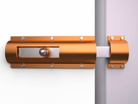 three dimensional accessibility: Metal latch for the door, 3D rendering image