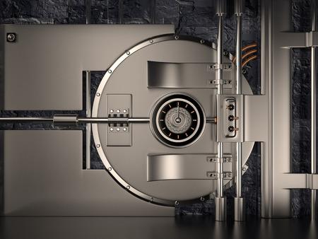 safety lock: Front view of Vault Door, 3D rendering image Stock Photo