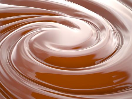 チョコレート クリームを旋回の背景、3 D レンダリング画像