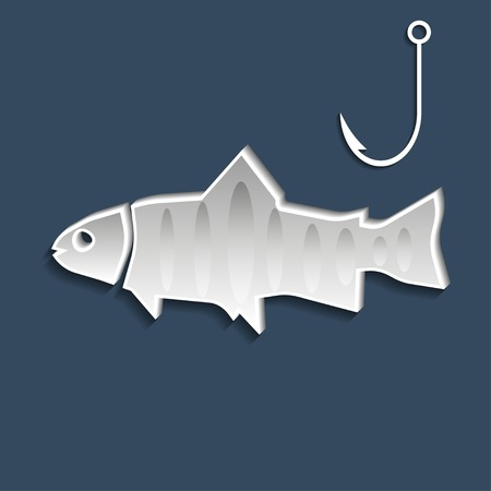 fishhook: Fish and fishhook symbols on dark blue background. Vector illustration Illustration