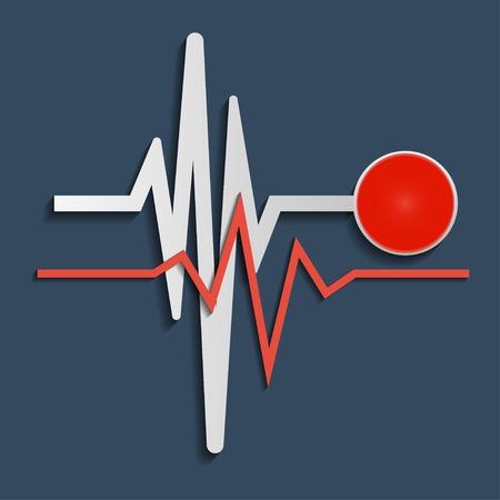 heart beat: Heart beat line on dark background. Vector illustration Illustration