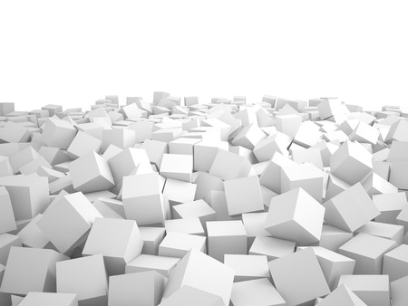 order chaos: Heap of white cubes, 3D rendering image