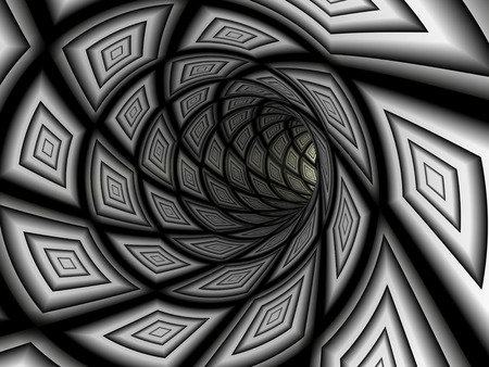 psychodelic: Checkered tunnel, abstract background. 3D rendering image Stock Photo