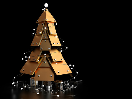 construction equipment: Abstract Christmas Tree on dark background, 3D rendering image
