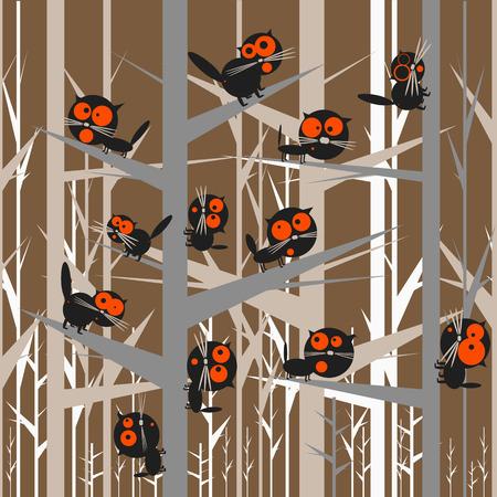 Black cats on a tree branches. illustration Illustration