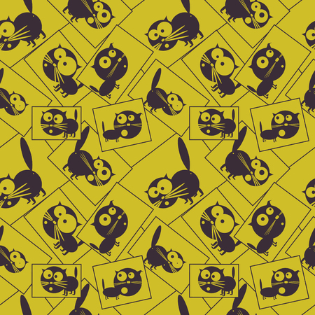 funny pictures: Pictures with funny black cats. Seamless pattern. illustration