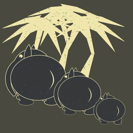 palmtrees: Elephants and palmtrees in cartoon style. illustration