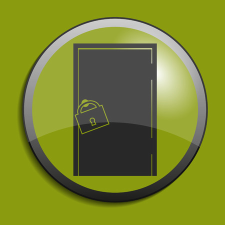 push room: Door icon on circle button. Vector illustration