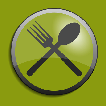 forked: Cutlery symbol on circle button. Vector illustration Illustration