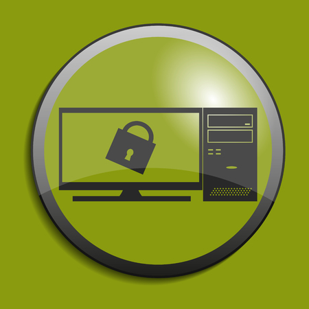 liquid crystal display: Computer icon on circle button. Protection concept. Vector illustration Illustration